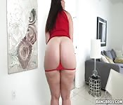 POV with an amateur brunette with a big ass