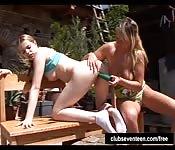 Teen lesbians outdoor experience