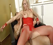 Fishnet blonde ripped to shreds