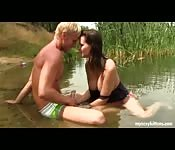 Amateur Couple Enjoying Fucking Besides River Bank