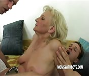 Kinky mature whore enjoying a hardcore threesome