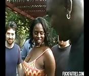 Bukkake with a black fatty