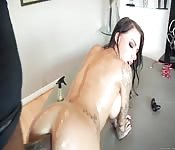 Dirty oiled-up whore getting banged by a black hunk