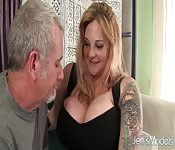 Busty bitch fucked hard by ols cock
