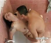 Busty wife banged hard in the bathroom