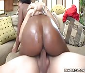 Black babe with big ass getting white dick deep in her